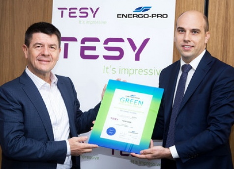 TESY has been awarded by ENERGO-PRO Energy Services a Certificate of user of electrical energy produced from renewable sources
