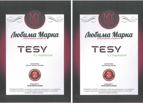 TESY is finalist in two categories in the My Love Marks rating