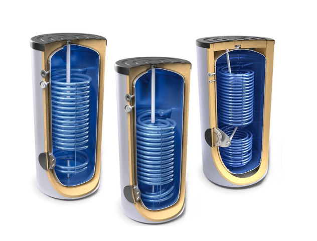 Floor standing storage tanks with high output heat exchanger