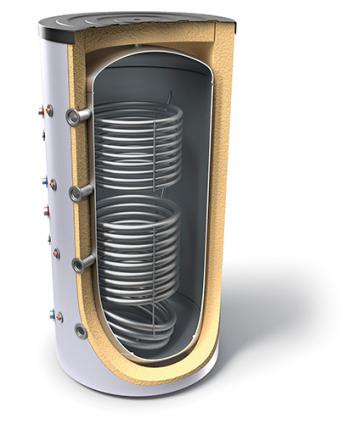 Buffer tanks for heating systems with two heat exchangers