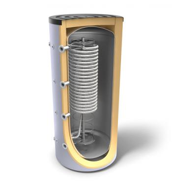 Combined storage tanks for heating systems and domestic hot water production via hygienic coil